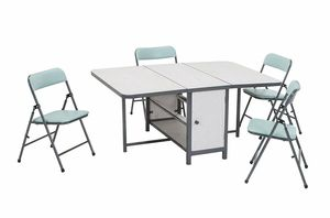 (new in box) Kids 5pc Fold-n-Store Set White Woodgrain, Teal Blue Chairs, Charcoal Gray for Sale in Reynoldsburg, OH