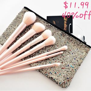 7 pcs pink unque makeup brush set from LA Makeup with glitter cosmetic makeup bag. 40%off for Sale in Los Angeles, CA