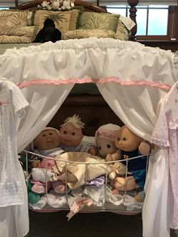 Adorable Doll Bed With Canopy, Mattress Pad And Cover. Fits Lots Of Dolls And Stuffed Animals. Looks Adorable In A Little Girl's Room. Dolls Not Inclu for Sale in Sutton,  MA