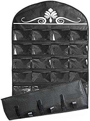Jewelry Hanging Non-Woven Organizer Holder 32 Pockets 18 Hook and Loops - Black for Sale in Los Angeles, CA