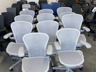 BRAND NEW HERMAN MILLER REMASTERED SATIN ALUMINUM AERON CHAIRS FULLY LOADED SIZE A,B,C FROM $995 POSTURE FIT SL LEATHER ARM PADS for Sale in South Gate,  CA
