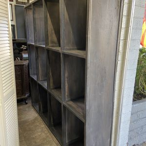 Solid metal wood industrial pair of beautiful cabinet bookshelves 73 wide 71 tall each cabinet for Sale in San Diego, CA