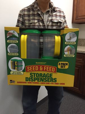 Brand new 3pc Seed & Feed storage dispenser box bin gardening bird feed pet food container for Sale in Whittier, CA