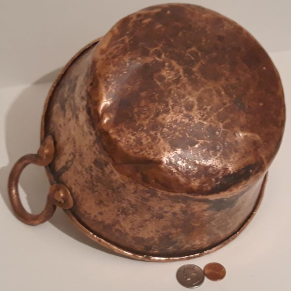 "Vintage Antique Copper Pot, Pan, Planter, Cookware, 10"" Wide and 9"" x 4 1/2"" Pan Size"", Very Heavy Duty Quality, Kitchen Decor, Hanging Display, Shelf"