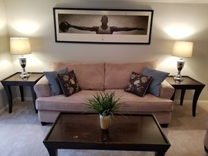Living Room Set For Sale. Sofa/Loveseat/Coffee Table/End Tables/Lamps/TV. $600 OBO for Sale in Woodbridge, VA