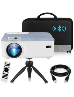 HD Bluetooth Projector, 2020 Latest Update 5500 Lux Portable LCD Projector with Carrying Bag and Tripod, Compatible with Smartphone, TV Stick, Roku, for Sale in Corona,  CA