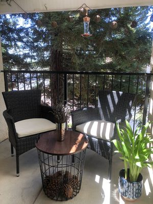 Set of 2 Patio Chairs with Modern wooden/iron Table. for Sale in Fresno, CA