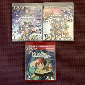 Kingdom Hearts 1 & 2 + Ni No Kuni PS3 for Sale in Norwalk, CA