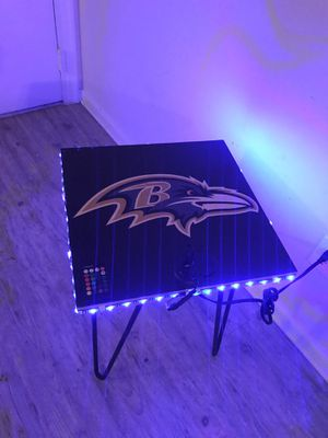 BALTIMORE RAVENS SIDE TABLE WITH LED LIGHTS, POWER, USB/CHARGE PORTS (I CAN DO ANY TEAM, PHOTO, LOGO ETC...) for Sale in Richmond, VA