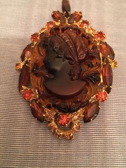 Vintage Tortoise Glass Cameo & Rhinestones Pendant Brooch Unbranded for Sale in Houston,  TX