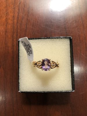 Genuine Purple Amethyst Diamond Engagement Ring 14K Gold Plate Size 7 for Sale in Feasterville-Trevose, PA