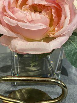 Beautiful Silk Flowers In Glass Vase for Sale in Falls Church,  VA