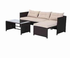 3PC Patio Rattan Wicker Sofa Set Cushined Couch Furniture Outdoor Garden for Sale in New York, NY