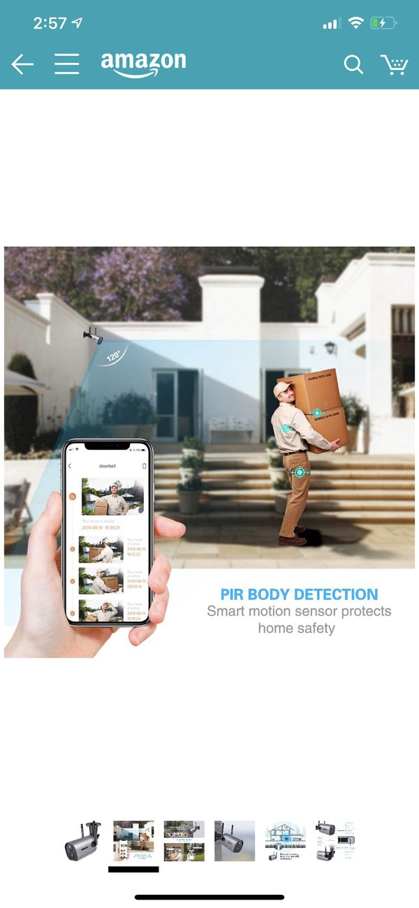 Wireless Outdoor WiFi Security Camera, Rechargeable Battery-Powered Home Security Camera, 1080P Night Vision/Waterproof, PIR Motion Detection, 2-Way