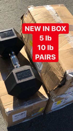 NEW Dumbbells Rubber Coated Hex 5   10 lb PAIRS for Sale in Fremont, CA