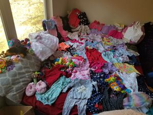 12 month baby girl clothes, toys, baby carrier,, ect for Sale in Imperial, MO