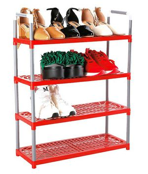 Plastic Shoe Rack Red Shelf Storage Multilevel Home Closet Organization for Sale in Chino Hills, CA