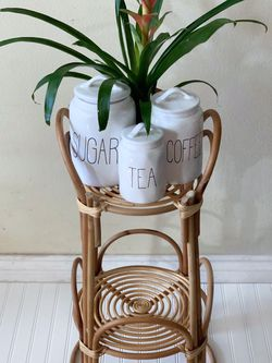 Boho Wicker Bamboo Plant Stand Rae Dunn Inspo for Sale in Los Angeles,  CA