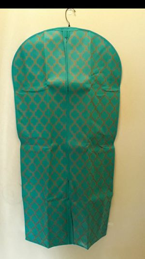 Double sided garment bag ( Teal &Gold) 44x22 for Sale in Glendora, CA