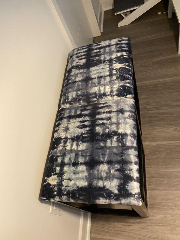 Velvet Blue Tie Dye Stools (2)