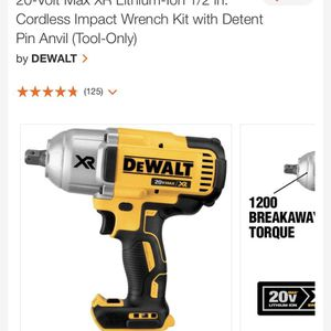 20-Volt Max XR Lithium-Ion 1/2 in. Cordless Impact Wrench Kit with Detent Pin Anvil (Tool-Only for Sale in Washington, DC