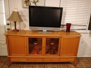 """Nice wooden buffet/ TV stand for big TVs with 4 drawers, cabinets and glass shelves in very good condition, a4"""" for Sale in Annandale, VA"""