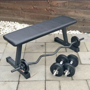 Flat Bench, Dumbbell, Curl Bar, and Weights (Brand New) for Sale in San Jose, CA