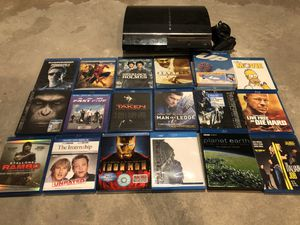 PS3 bundle with blu ray movies and games OBO for Sale in Seattle, WA