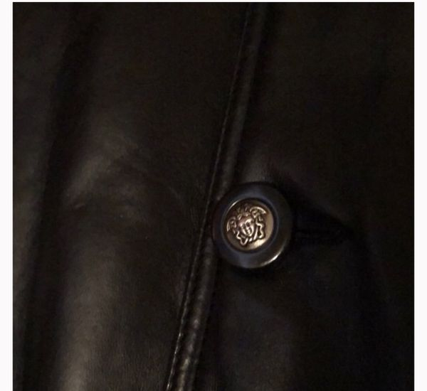 Vintage Versace leather coat.
