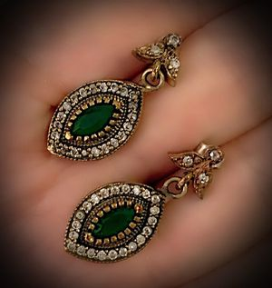 EMERALD FINE ART DANGLE POST EARRINGS Solid 925 Sterling Silver/Gold WOW! Brilliantly Faceted Marquise Cut Gems, Diamond Topaz N924 V for Sale in San Diego, CA