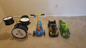 Toddlers Drum set, Batman mini car, mini scooter, and a PJ mask car for Sale in MD CITY, MD