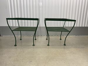 Pair Mid Century Wrought Iron Glass Topped Tables for Sale in McLean, VA