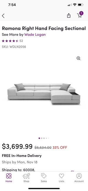 White Leather Couch for Sale in Palatine, IL