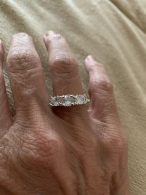 New CZ 3 stone silver wedding ring size 7 for Sale in Inverness, IL