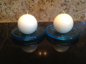 2 Blue Glass Candle Holders w/ White sphere candles - 2 for $4 for Sale in Miami, FL