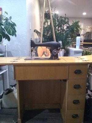 Antique desk with built-in Sew-Gem Sewing Machine for Sale in Tacoma, WA