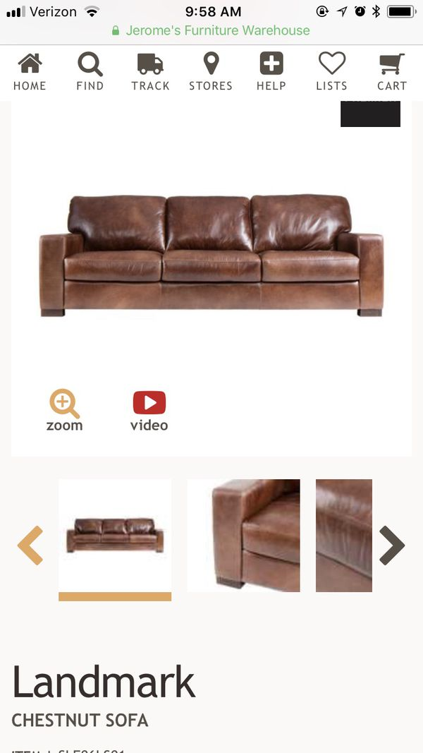Landmark Chestnut Leather Sofa Premier Sofa From Jerome S For Sale