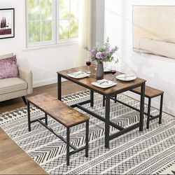 Dining Table for 4 People, Kitchen Table and 2 Bench, Heavy Duty Metal Frame, Industrial Style, for Living Room, Dining Room, Rustic Brown for Sale in Chino,  CA