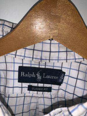 Men's Ralph Lauren Polo shirt. Size: L, Color: Blue & White, Design: Long Sleeve for Sale in Washington, DC
