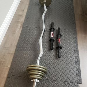 Chromed EZ CURL BAR, pair of Standard 14'DUMBBELL HANDLES and 35lbs of IVANKO WEIGHT PLATES for Sale in El Monte, CA