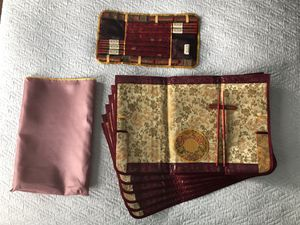 NEW set of 6 silk placemats with chopsticks, holders, stands for Sale in Queens, NY