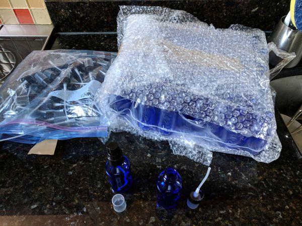 Glass Spray Pump, 2 Oz Cobalt Blue Round Bottles (60)