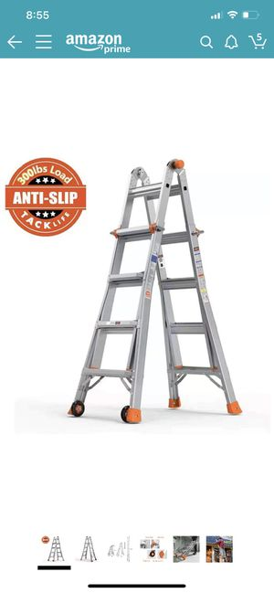 TACKLIFE Ladder 17-Foot Aluminum Multi-Purpose Extension Ladder with 300lbs Load Capacity Non-Slip Rubber feet with 2 Durable Wheels Under Easy to Ca for Sale in Lorton, VA