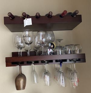 Wine Bottle and Glass Shelving with mounting hardware for Sale in Milpitas, CA