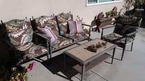 4 chair set table and umbrella , patio furniture , $100 for everything for Sale in Upland, CA