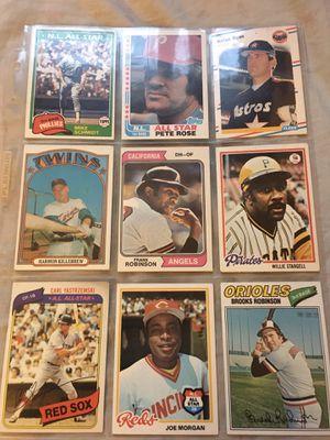 9 baseball Hall of Famer's baseball cards topps for Sale in Fullerton, CA