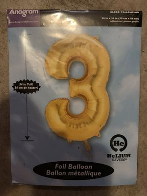 Number 3 balloon in gold for Sale in Pembroke Pines, FL