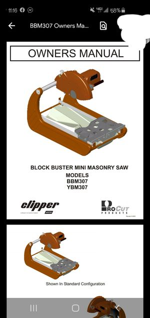 Clipper wet tile and masonry saw for Sale in Fulton, MO