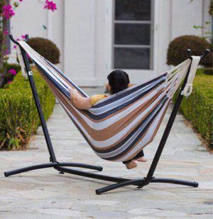 New in box $60 each 110 inches long 450 lbs capacity double hammock with metal stand included and carrying bag for Sale in Covina, CA