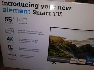 Read Smart tv 4k 55 inch element brand new in box warranty read for Sale in Pittsburgh, PA